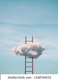 Escalera al cielo - escalera en nubes con fondo azul cielo. Esta es una ilustración de representación 3d