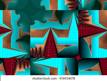 stairway to Heaven, symmetrical composition, kaleidoscopic, mirror effect, turquoise geometric composition of colors, patterns,texture,