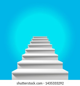 Stairway to Heaven. White Staircase Leading up to Heavenly Blue Sky. Way to God, Way to Paradise. Heavenly Light