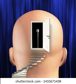 Stairway leads to microphone inside mind. 3D rendering