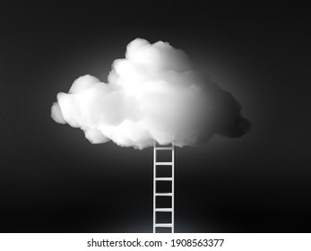 Stairway to the sky, white fluffy cloud, heaven 3d rendering