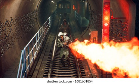 Stalkers in chemical protective clothing walk along an abandoned subway with a flamethrower during a virus epidemic. The concept of a post-apocalyptic world after a nuclear war. 3D Rendering