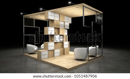 Exhibition Stall D Model Free Download : Gray trade exhibition booth or stall stock illustration