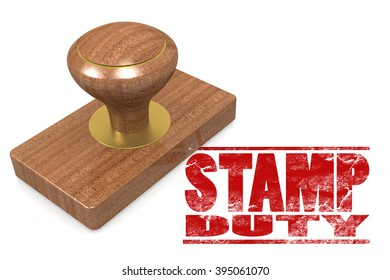 Stamp duty wooded seal stamp image with hi-res rendered artwork that could be used for any graphic design.