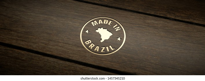 Stamp made in Brazil, engraved in wood with gold inlays. 3D Render.