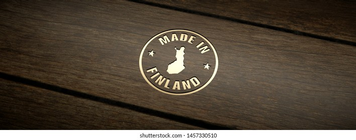 Stamp made in Finland, engraved in wood with gold inlays. 3D Render.