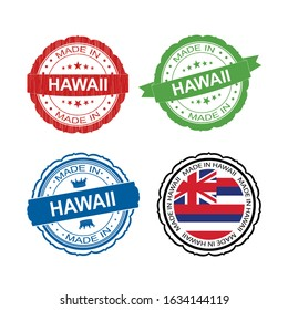 Stamp Made in Hawaii label set with flag, made in Hawaii.