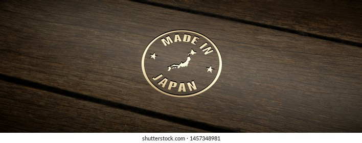 Stamp made in Japan, engraved in wood with gold inlays. 3D Render.