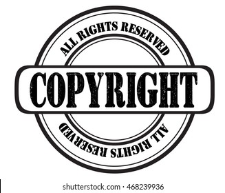 "stamp with text ""copyright all rights reserved"" isolated on white background. Bitmap"