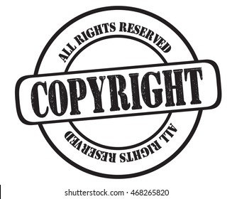 "stamp with text ""copyright, all rights reserved"" isolated on white background. Bitmap"