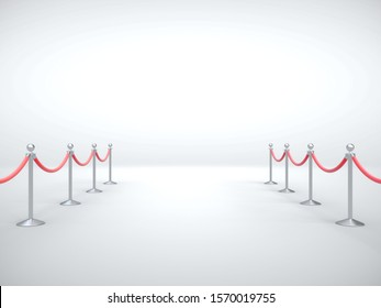 Stanchion with red barrier rope. Art and presentation concept. 3D Rendering