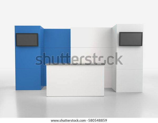 Stand Booth Mockup Template 3d Rendering Stock Illustration 580548859
