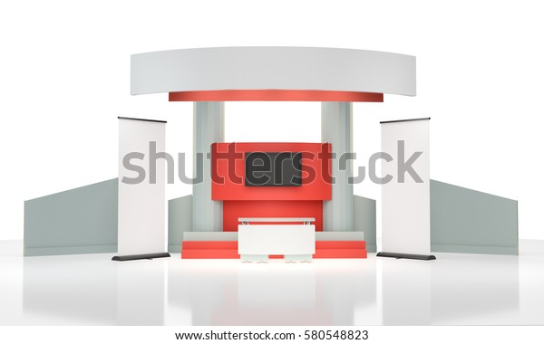 Stand Booth Mockup Template Rollups 3d Stock Illustration 580548823
