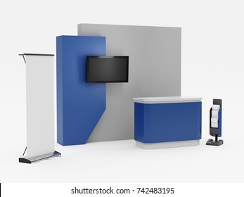 Stand booth stall kiosk. Mock-up template. 3D rendering