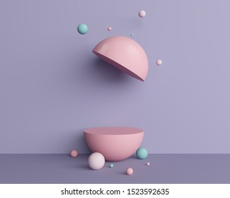 stand and display pastel. sphere baby pink toy egg half circle ball blue float 3d geometric shapes ball purple background room elevation cut section. 3D illustration.
