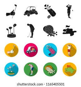 Stand for a golf club, muzhchin playing with a club, basket with balls, label with a flag on the golf course. Golf Club set collection icons in black,flet style bitmap symbol stock illustration web.