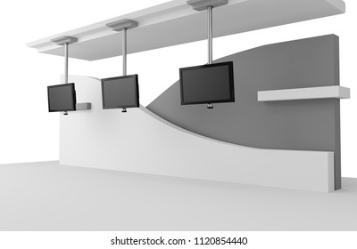 Stand With HD TV Displays. 3D rendering