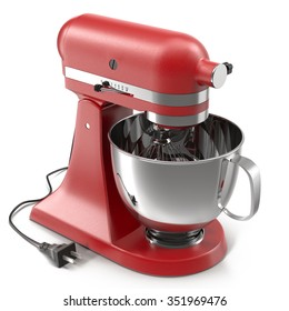 Stand Mixer Red on White Background