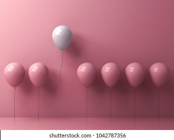 Stand out from the crowd and different concept , One freedom white balloon flying away from other pink balloons on pink pastel color wall background with window reflection and shadows . 3D rendering.