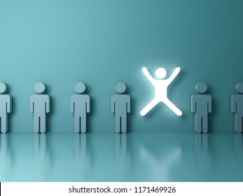 Stand out from the crowd and different concept One glowing light man jumping with legs and arms wide open among other people on dark green pastel color background with reflections and 3D rendering