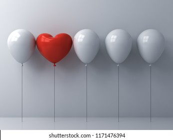 Stand out from the crowd and different concept One red heart balloon different from other balloons on white wall background with reflections and shadows 3D rendering