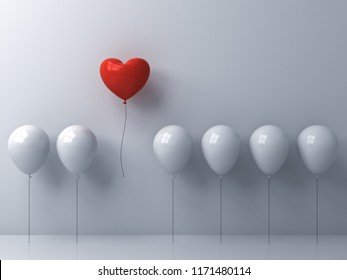 Stand out from the crowd and different concept One red heart balloon flying away from other white balloons on white wall background with window reflections and shadows 3D rendering