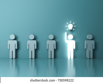Stand out from the crowd and different concept , One glowing light man raising his hand got an idea bulb among other people on light green pastel color background with reflections . 3D rendering.