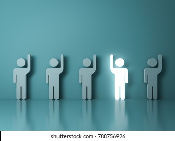 Stand out from the crowd and different concept , One glowing light man raising his right hand among other left hand people on light green background with reflections and shadows . 3D rendering.