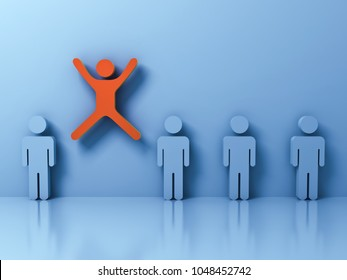 Stand out from the crowd and different creative idea concept , One man jumping with arms wide open among other people on light blue pastel color background with reflections and shadows . 3D rendering.