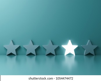 Stand out from the crowd and different creative idea concepts , One glowing star standing among other dim stars on green pastel color background with reflections and shadows . 3D rendering.