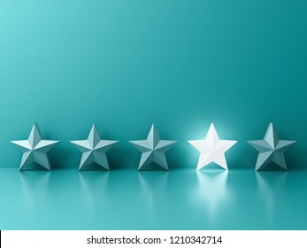 Stand out from the crowd and different creative idea concepts One glowing light star standing among other dim stars on green pastel color background with reflections and shadows 3D rendering