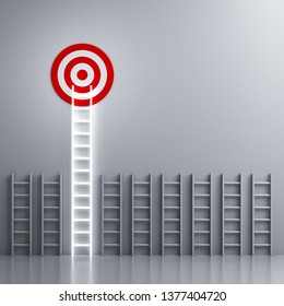Stand out from the crowd and different creative idea concepts Longest neon light ladder glowing and aiming high to goal target among other short ladders on grey  background with shadows 3D rendering