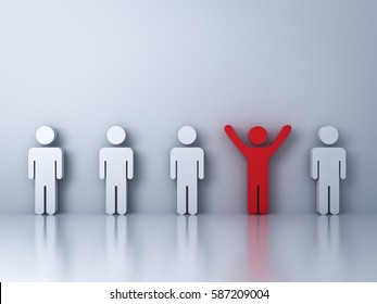 Stand out from the crowd and different creative idea concepts , One red man standing with arms wide open among other people on white background with reflections and shadows . 3D rendering.