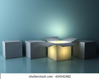 Stand out from the crowd , different creative idea concepts , One luminous opened box glowing among closed white square boxes on dark green background with reflections and shadows. 3D rendering.