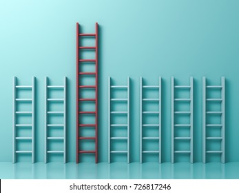 Stand out from the crowd and different creative idea concepts , Longest red ladder among other short white ladders on light green pastel color background . 3D rendering.