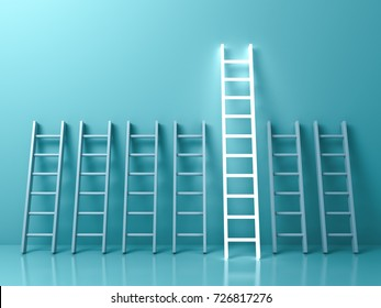Stand out from the crowd and different creative idea concepts , The longest light ladder glowing among other short ladders on light green pastel color background with shadows . 3D rendering.