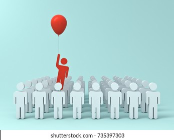 Stand out from the crowd and different creative idea concept , One red man flying away from other people with red balloon on light green pastel color background with shadows . 3D rendering.