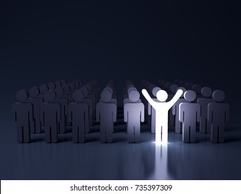 Stand out from the crowd and different creative idea concepts , One glowing light man standing with arms wide open among other people in the row on dark blue background with reflection . 3D rendering.