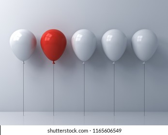 Stand out from the crowd and different idea concepts One red balloon among other white balloons on white wall background with reflections and shadows 3D rendering