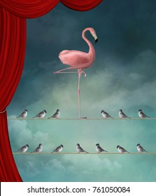 Stand out from the crowd - Flamingo nd sparrows in a surreal stage - 3D mixed media illustration