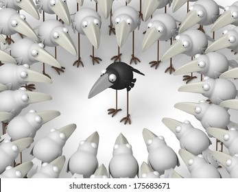Stand out of a crowd - individuality, black crow among white crows