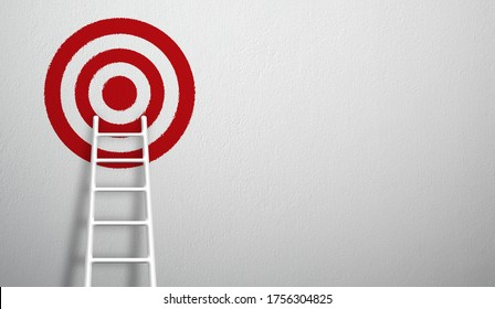 Stand out from the crowd and think different creative idea concepts. Longest white ladder growing up growth to aiming high to goal target. 3d illustration