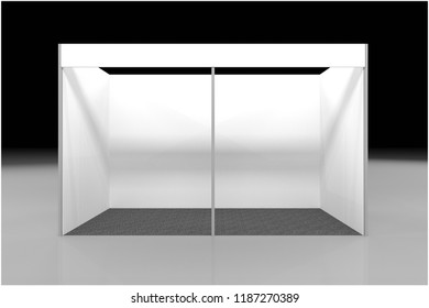 Stand, roll up or blank information promo booth isolated on transparent background. Vector empty exhibition table stand display set. Clear plastic counter mock up or kiosk template for your design.