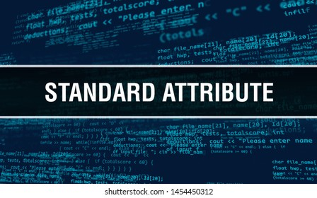 Standard attribute with Abstract Technology Binary code Background.Digital binary data and Secure Data Concept. Software