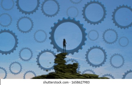 Standing Alone. Person on edge. Drawing. Lonely human. Machine cogwheel. Unreal. Infinite space. Object floating. Fictional. Imaginary. 2d illustration.