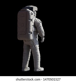 standing astronaut, isolated on black background (3d science illustration)