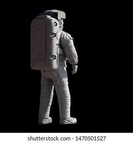 stehender Astronaut einzeln auf schwarzem Hintergrund (3D-Wissenschaftsgrafik)