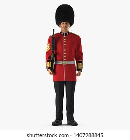 Standing British Royal Guard Holding Gun Isolated on White Background 3D Illustration