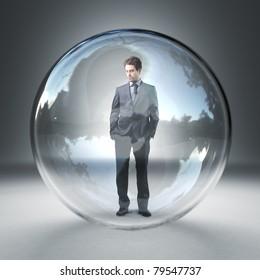 standing caucasian man in  3d glass sphere