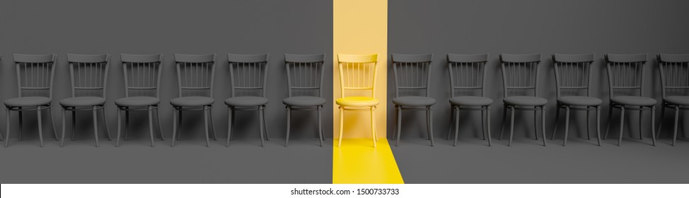 Standing chairs in a row, yellow chair stands out among the likes. Business hiring and recruiting concept. 3d illustration.